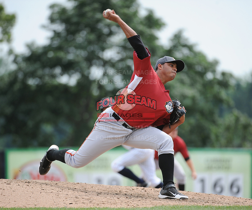 Altoona Curve pitcher Luis Angel Sanz (31) during game against the Trenton Thunder at ARM & HAMMER Park on July 24, 2013 in Trenton, NJ.  Altoona defeated Trenton 4-2.  Tomasso DeRosa/Four Seam Images