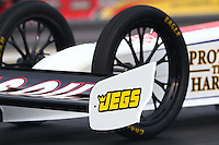 May 15, 2015; Commerce, GA, USA; Detailed view of the front wing and wheel on the dragster of NHRA top fuel driver Richie Crampton during qualifying for the Southern Nationals at Atlanta Dragway. Mandatory Credit: Mark J. Rebilas-USA TODAY Sports