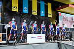 Total Direct Energie at the Team Presentation before the start of Stage 1 of Criterium du Dauphine 2020, running 218.5km from Clermont-Ferrand to Saint-Christo-en-Jarez, France. 12th August 2020.<br /> Picture: ASO/Alex Broadway | Cyclefile<br /> All photos usage must carry mandatory copyright credit (© Cyclefile | ASO/Alex Broadway)