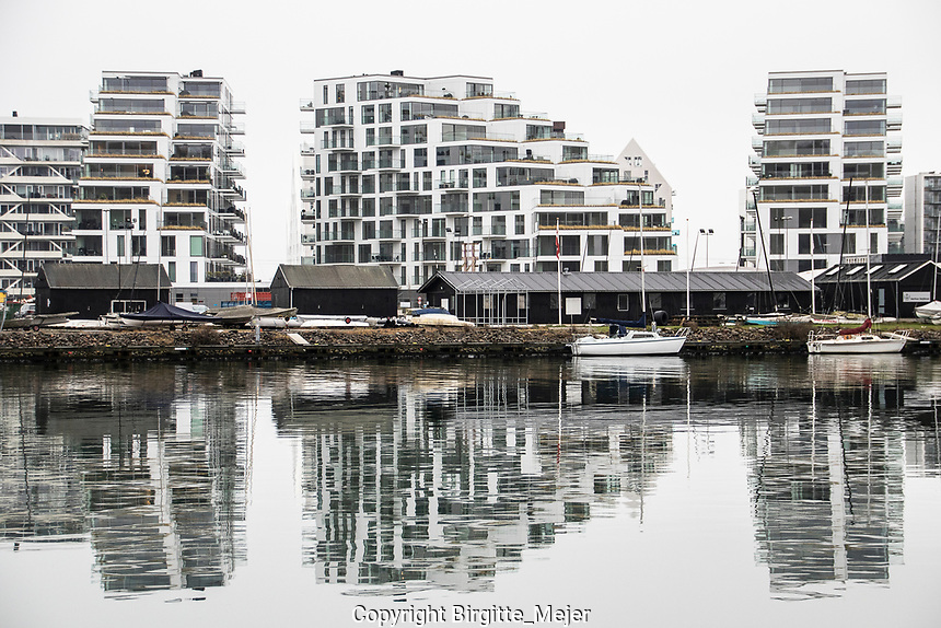 Modern housing and sail boats by the waterfront in Aarhus, Denmark Scandinavia