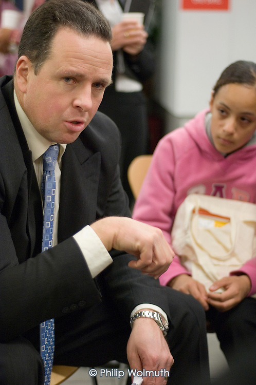 Chief Superintendent Mark Heath, Metropolitan Police Borough Commander for Camden, speaks with Haverstock School pupils during a public consultation on Camden Together, Camden Council's community strategy for 2007-2012, Haverstock School, Chalk Farm.