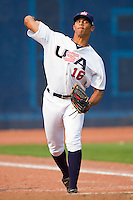 Branden Kline #16 (Virginia) of the USA Baseball Collegiate National Team throws in the bullpen during the game against the Japan Collegiate National Team at the Durham Bulls Athletic Park on July 3, 2011 in Durham, North Carolina.  USA defeated Japan 7-6.  (Brian Westerholt / Four Seam Images)
