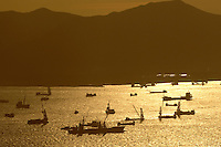 Barges in Hong Kong harbor..