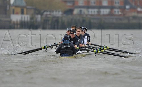 26.03.2013. River Thames, London.  Oxford Blue Boat in action during The 159th Oxford and Cambridge Universities Boat Race practice outing during Tideway week.  Patrick Close [Pembroke] [Bow], Geordie Macleod [Christ Church] [2], Alex Davidson [Christ Church] [3], Sam O'Connor [Christ Church] [4], Paul Bennett [Kellogg] [5], Karl Hudspith [St. Peter's] [6], Constantine Louloudis [Trinity] [7], Malcolm Howard  [Oriel] [Stroke], Oskar Zorrilla [St. Hugh's] [Cox].