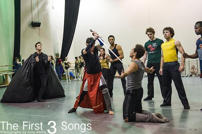 Cincinnati Ballet dancers rehearse for King Arthur's Camelot. The 2013-2014 marks the company's 50th Season in Cincinnati, Ohio.