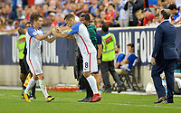 Harrison, N.J. - Friday September 01, 2017:   Jorge Villafaña, Clint Dempsey during a 2017 FIFA World Cup Qualifying (WCQ) round match between the men's national teams of the United States (USA) and Costa Rica (CRC) at Red Bull Arena.