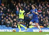 2nd February 2019, Stamford Bridge, London, England; EPL Premier League football, Chelsea versus Huddersfield Town; Marco Alonso of Chelsea challenges Adama Diakhaby of Huddersfield Town