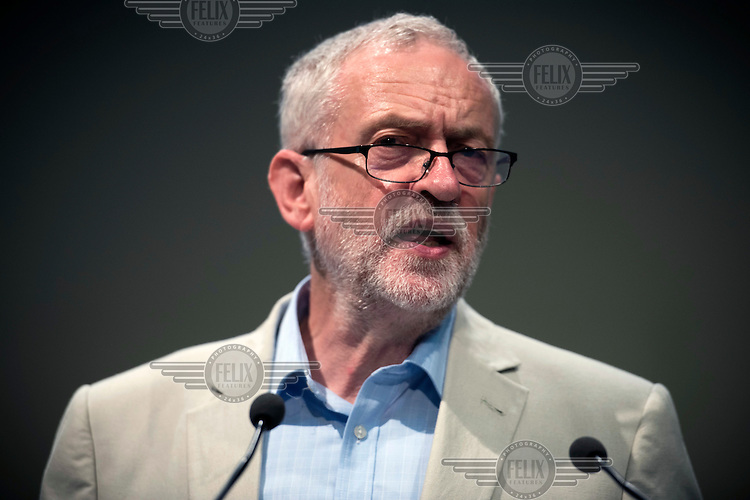Labour party leader, Jeremy Corbyn, speaks to union delegates at the UNISON conference on the day before the EU Referendum. UNISON is the UK's second largest union with a membership largely made up of public sector workers.