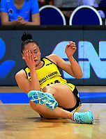 Whitney Souness goes down injured during the ANZ Premiership netball match between the Central Pulse and Northern Stars at Te Rauparaha Arena in Wellington, New Zealand on Wednesday, 24 May 2017. Photo: Dave Lintott / lintottphoto.co.nz
