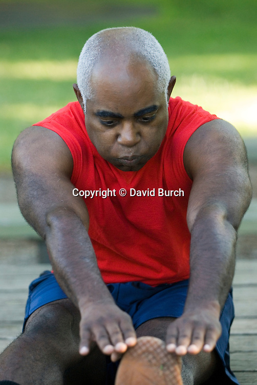 Mature man exercising, close-up