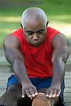 Mature man exercising, close-up