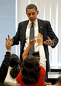 Silver Spring, MD - October 19, 2009 -- United States President Barack Obama speaks to third and fourth graders during their lunch period at Viers Mill Elementary School, Monday, October 19, 2009 in Silver Spring, Maryland. The elementary school was named a 2005 National Title I No Child Left Behind Blue Ribbon school. .Credit: Chip Somodevilla / Pool via CNP