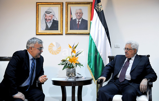 Palestinian President Mahmoud Abbas (Abu Mazen) during a meeting with Sergey Vershinin, the Special Envoy of the Russian Foreign Minister in the West Bank city of Ramallah on March 2, 2011. Photo by Omar Rashidi