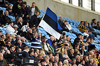 A Bath Rugby fan in the crowd waves a flag in support. Aviva Premiership match, between Wasps and Bath Rugby on October 1, 2017 at the Ricoh Arena in Coventry, England. Photo by: Patrick Khachfe / Onside Images