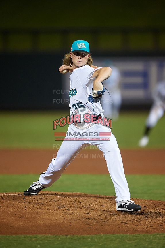 Salt River Rafters relief pitcher Shane Baz (35), of the Tampa Bay Rays organization, during an Arizona Fall League game against the Mesa Solar Sox on September 27, 2019 at Salt River Fields at Talking Stick in Scottsdale, Arizona. Salt River defeated Mesa 6-1. (Zachary Lucy/Four Seam Images)