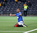 03.10.2019 Young Boys of Bern v Rangers: Alfredo Morelos gestures to the linesman after he was felled in the box
