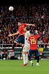 Spain's Nacho Fernandez (L) and Sergio Ramos (R) and England's Harry Winks during UEFA Nations League 2019 match between Spain and England at Benito Villamarin stadium in Sevilla, Spain. October 15, 2018. (ALTERPHOTOS/A. Perez Meca)