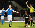 Steven Anderson sent offf as Alfredo Morelos reacts with s fist pump