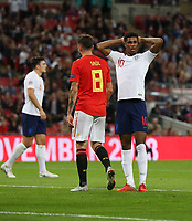 England's Marcus Rashford after going close with a first half header<br /> <br /> Photographer Rob Newell/CameraSport<br /> <br /> UEFA Nations League - League A - Group 4 - England v Spain - Saturday September 8th 2018 - Wembley Stadium - London<br /> <br /> World Copyright &copy; 2018 CameraSport. All rights reserved. 43 Linden Ave. Countesthorpe. Leicester. England. LE8 5PG - Tel: +44 (0) 116 277 4147 - admin@camerasport.com - www.camerasport.com