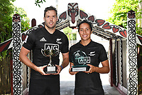 New Zealand Sevens, Tim Mikkelson and Sarah Goss<br /> 2019 Hamilton Sevens captains' photo at Turangawaewae Marae in Ngaruawahia, New Zealand on Wednesday, 23 January 2019. Photo: Jeremy Ward / lintottphoto.co.nz
