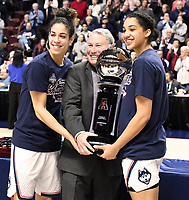 UNCASVILLE, CONNECTICUT -MAR 06: , UCONN ladies defeated USF in the finals of the AAC tournament as they proudly accept the award on March 6, 2018 in Uncasville, Connecticut. ( Photo by D. Heary/Eclipse Sportswire/Getty Images)