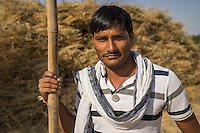 Guar farmer Sugnaram, aged 27, poses for a portrait with a recent harvest of guar in his field in Sarera village, Bikaner, Rajasthan, India on October 23, 2016. Sugnaram plants guar on 5 hectares of his 8 hectare land and has doubled his yield with this harvest after implementing the technical changes he has learnt in Technoserve's training. Non-Profit Organisation Technoserve works with Guar farmers in Bikaner to provide technical farming knowledge to them, improving their crop yield through good agricultural practices. Photograph by Suzanne Lee for Technoserve