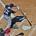 24 September 2012: Milwaukee Brewers catcher Jonathan Lucroy at bat against the Washington Nationals at Nationals Park in Washington, DC. The Brewers fell 12-2 to the Nationals in the final game of their 4-game series, splitting the series at two. Mandatory Credit: Ed Wolfstein Photo