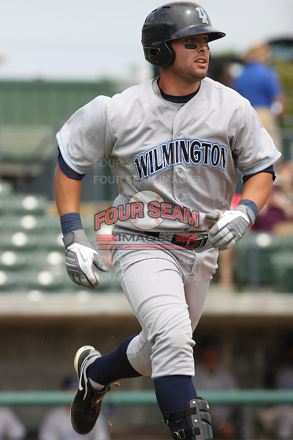 Wilmington Blue Rocks first baseman John Whittleman #30 running to first base against the Myrtle Beach Pelicans at BB&T Coastal Field in Myrtle Beach, South Carolina on April 10, 2011.   Photo By Robert Gurganus/Four Seam Images