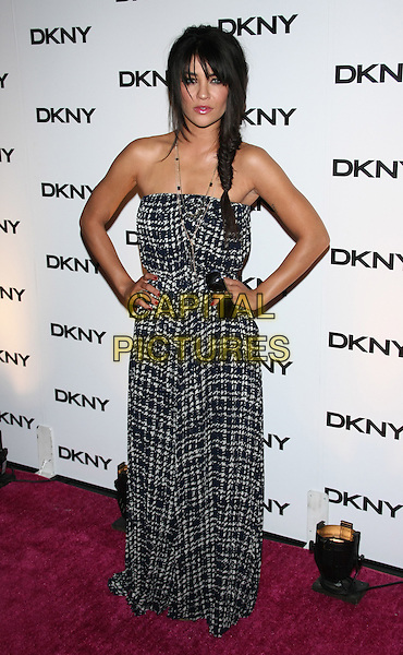 Jessica Szohr.The DKNY Sunglass Soiree at The Beach in the Dream Downtown Hotel, New York, NY, USA..July 26th, 2011.full length grey gray strapless grey gray white check print dress hands on hips braid plait fishtail maxi.CAP/LNC/TOM.©TOM/LNC/Capital Pictures.