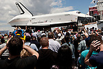Space Shuttle Enterprise arrives by barge at the Intrepid Sea, Air and Space Museum in New York, June 6, 2012. / VIEW..