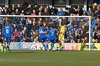 Liam Trotter of AFC Wimbledon misses the target during the Sky Bet League 1 match between AFC Wimbledon and Bristol Rovers at the Cherry Red Records Stadium, Kingston, England on 17 February 2018. Photo by Carlton Myrie.