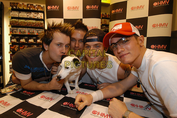 PHIXX.Opening the HMV shop in Yeovil .July 6th, 2004.band music, group, half length, hat, dog.www.capitalpictures.com.sales@capitalpictures.com.©Capital Pictures
