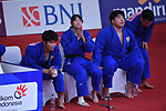 (L-R)  Yusuke Kobayashi, Saki Niizoe,  Kokoro Kageura (JPN), <br /> SEPTEMBER 1, 2018 - Judo : Mix Team Quarter-final at Jakarta Convention Center Plenary Hall during the 2018 Jakarta Palembang Asian Games in Jakarta, Indonesia. <br /> (Photo by MATSUO.K/AFLO SPORT)