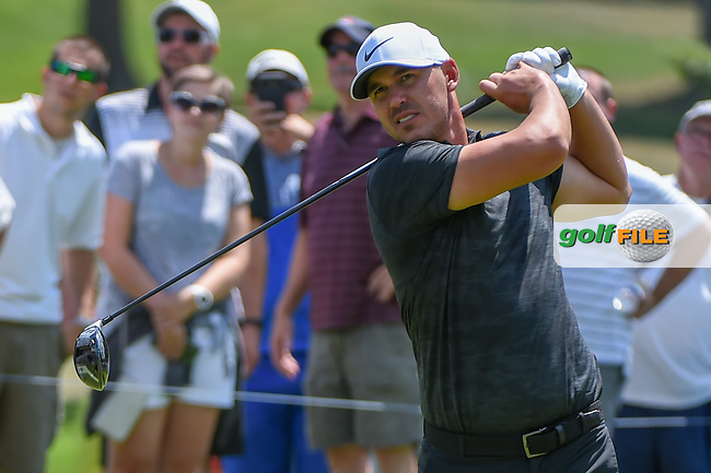 Brooks Koepka (USA) watches his tee shot on 8 during 3rd round of the World Golf Championships - Bridgestone Invitational, at the Firestone Country Club, Akron, Ohio. 8/4/2018.<br /> Picture: Golffile | Ken Murray<br /> <br /> <br /> All photo usage must carry mandatory copyright credit (© Golffile | Ken Murray)