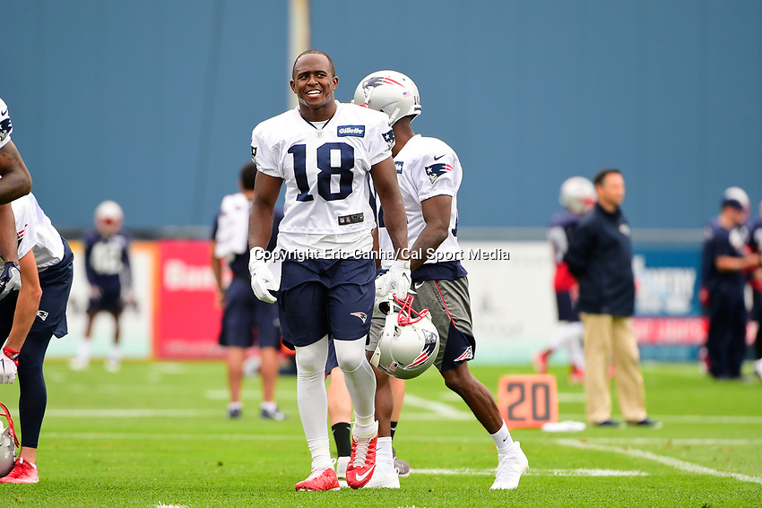 July 27, 2017: New England Patriots wide receiver Matthew Slater (18) gets a breather at the New England Patriots training camp held on the practice field at Gillette Stadium, in Foxborough, Massachusetts. Eric Canha/CSM