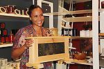 Bees making honey with Guiding Light's Yvonna Kopacz Wright, owner of Lomar Farms in Palisades, New York where she as a beekeeper as makes beeswax candles and other products. Tonight May 4, 2018 Yvonna presented them at NiLu - gifts - lifestyle - home in Harlem where attendees viewed them, chatted, bought them. For more information go to www.lomarfarms.com. (Photo by Sue Coflin/Max Photo)