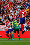 Jose Maria Gimenez of Atletico de Madrid and Charles Dias de Oliveira of SD Eibar in action during La Liga match between Atletico de Madrid and SD Eibar at Wanda Metropolitano Stadium in Madrid, Spain.September 01, 2019. (ALTERPHOTOS/A. Perez Meca)