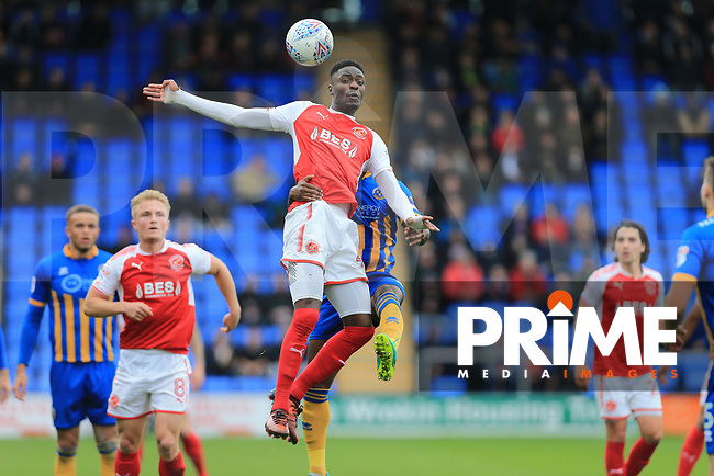 Devante Cole of Fleetwood Town wins the ball during the Sky Bet League 1 match between Shrewsbury Town and Fleetwood Town at Greenhous Meadow, Shrewsbury, England on 21 October 2017. Photo by Leila Coker / PRiME Media Images.