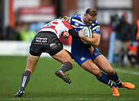 4th January 2020; Kingsholm Stadium, Gloucester, Gloucestershire, England; English Premiership Rugby, Gloucester versus Bath; Billy Twelvetrees of Gloucester tackles Jamie Roberts of Bath - Editorial Use
