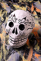 Folk art skull on painted background