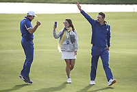 Sergio Garcia (Team Europe) with wife and Justin Rose (Team Europe) enjoy their walk back to the 18th during Sunday's Singles, at the Ryder Cup, Le Golf National, Île-de-France, France. 30/09/2018.<br /> Picture David Lloyd / Golffile.ie<br /> <br /> All photo usage must carry mandatory copyright credit (© Golffile | David Lloyd)
