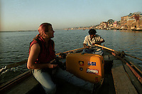Me and my Roncato suitcase float along the Ganges River in Varanasi, India - 1996.