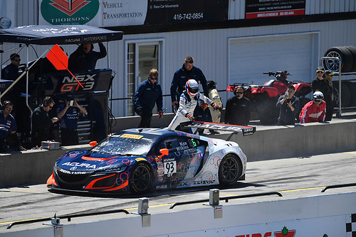 Pirelli World Challenge<br /> Victoria Day SpeedFest Weekend<br /> Canadian Tire Motorsport Park, Mosport, ON CAN Saturday 20 May 2017<br /> Peter Kox/ Mark Wilkins pit stop<br /> World Copyright: Richard Dole/LAT Images<br /> ref: Digital Image RD_CTMP_PWC17091