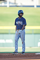 AZL Padres 1 CJ Abrams (8) leads off second base during an Arizona League game against the AZL Cubs 1 on July 5, 2019 at Sloan Park in Mesa, Arizona. The AZL Cubs 1 defeated the AZL Padres 1 9-3. (Zachary Lucy/Four Seam Images)