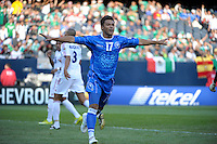 El Salvador's Lester Blanco celebrates after scoring a goal.  El Salvador defeated Cuba 6-1 at the 2011 CONCACAF Gold Cup at Soldier Field in Chicago, IL on June 12, 2011.