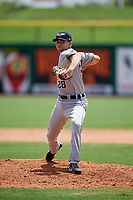 Lakeland Flying Tigers relief pitcher Mark Ecker (28) delivers a pitch during the first game of a doubleheader against the Clearwater Threshers on June 14, 2017 at Spectrum Field in Clearwater, Florida.  Lakeland defeated Clearwater 5-1.  (Mike Janes/Four Seam Images)