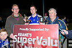 MAN OF THE MATCH: Cian Hussey (cat Causeway) who was voted the man of the match in the Keanes Super Valu County Minor Hurling Final between Causeway v St Brendan's Ardfert,at Abbeydorney on Friday evening l-r: Noel Byrne (Keanes Super Valu), Cian Hussey (man of the match and Ger McCarthy ()KCB Hurling Officer).