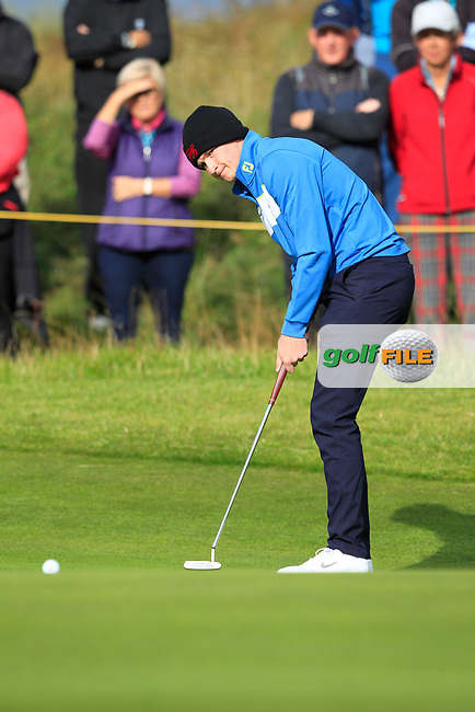 Sandy Scott (GB&I) on the 4th during the Foursomes at the Walker Cup, Royal Liverpool Golf CLub, Hoylake, Cheshire, England. 07/09/2019.<br /> Picture Thos Caffrey / Golffile.ie<br /> <br /> All photo usage must carry mandatory copyright credit (© Golffile   Thos Caffrey)