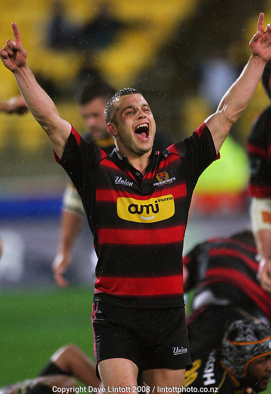Canterbury halfback Tyson Keats celebrates victory during the Air NZ Cup Final between Wellington and Canterbury at Westpac Stadium, Wellington, New Zealand on Saturday 25th October 2008.  Photo: Dave Lintott / lintottphoto.co.nz