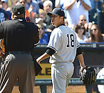 Hiroki Kuroda (Yankees),.MAY 12, 2013 - MLB :.Hiroki Kuroda of the New York Yankees argues with the home plate umpire after being pulled in the eighth inning during the baseball game against the Kansas City Royals at Kauffman Stadium in Kansas City, Missouri, United States. (Photo by AFLO)